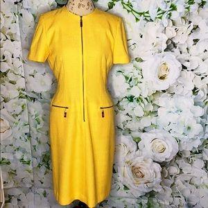 Kasper A.S.L. Yellow Half Zip Front Dress